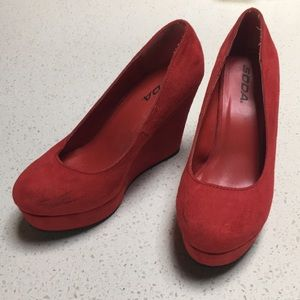 Red suede platform shoes, size 7